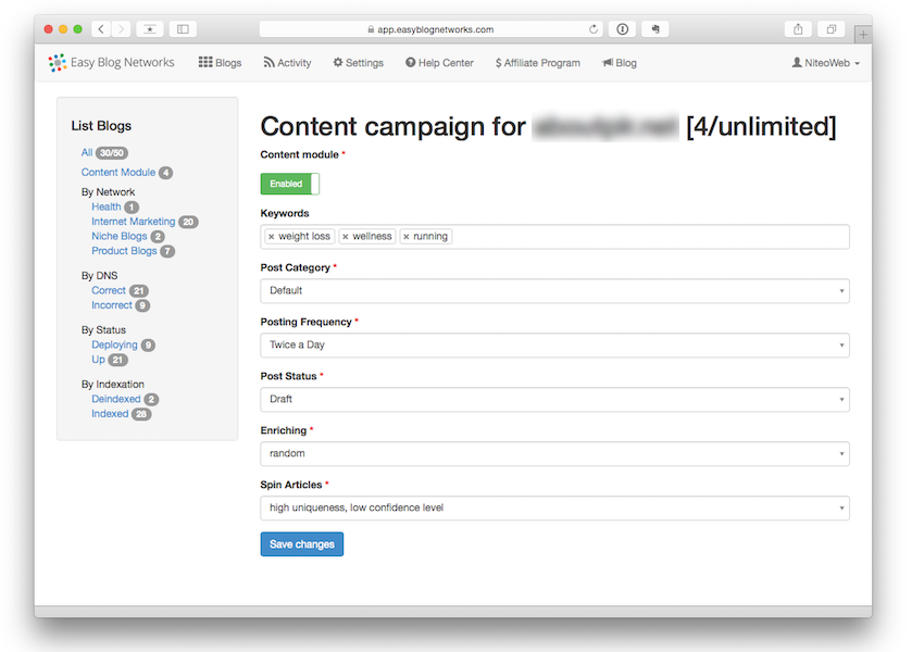 Easy Blog Networks - Content Module